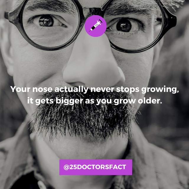 Your nose actually gets bigger as you get older