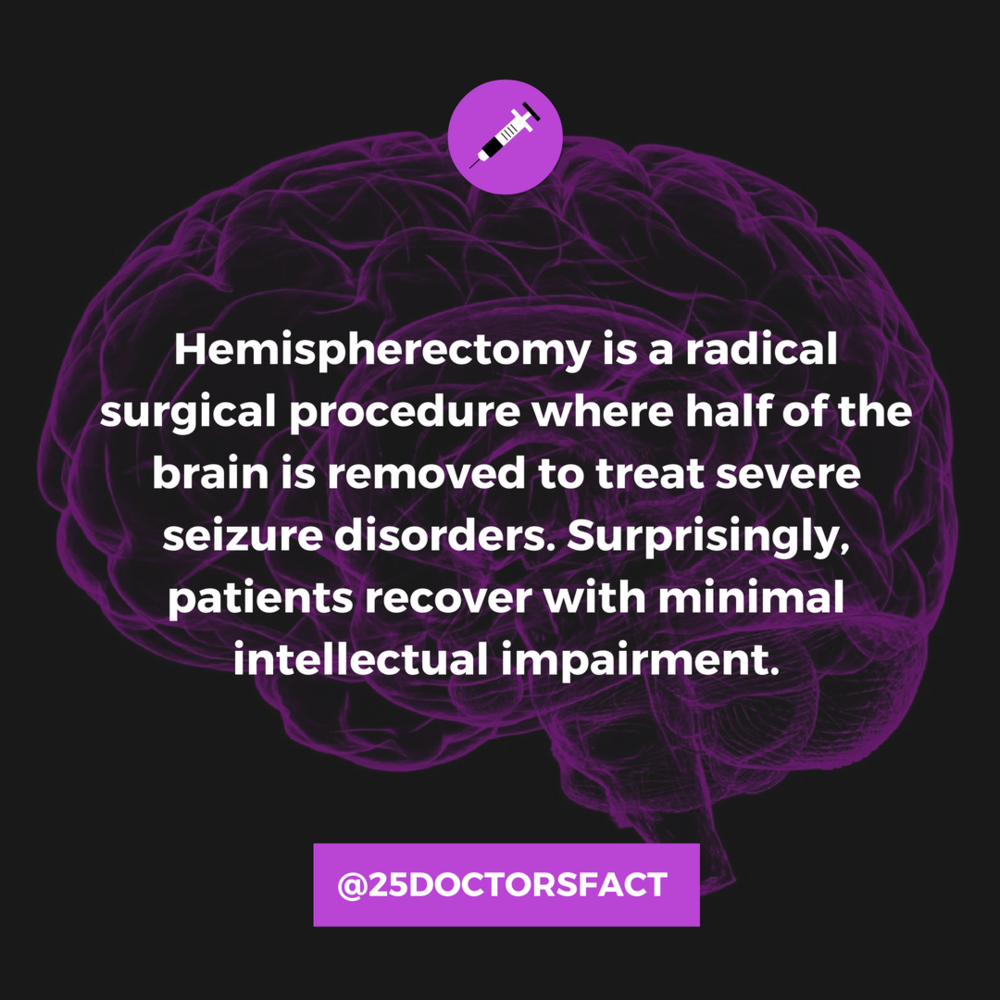 In hemispherectomy, a portion or all of a brain hemisphere is removed