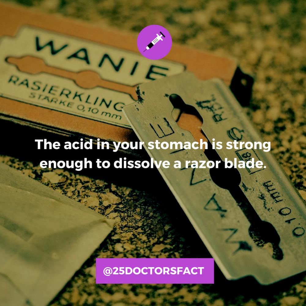 corrosive stomach acid can dissolve a razor blade