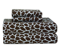 Pointehaven Heavy Weight Printed Flannel Queen Sheet Set, Giraffe Print, Chocolate.PNG