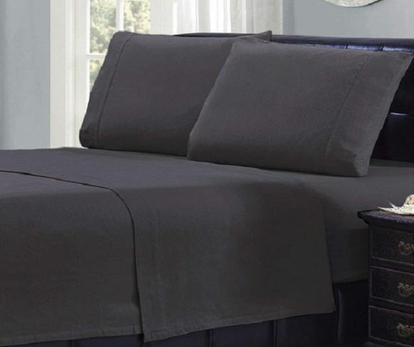 Mellanni 100% Cotton 4 Piece Flannel Sheets Set - Deep Pocket - Warm - Super Soft - Breathable Bedding (Queen, Gray).PNG