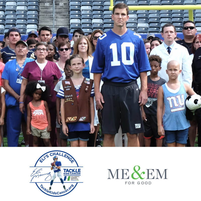Eli Manning for Tackle Kids Cancer. Be part of Eli's Challenge