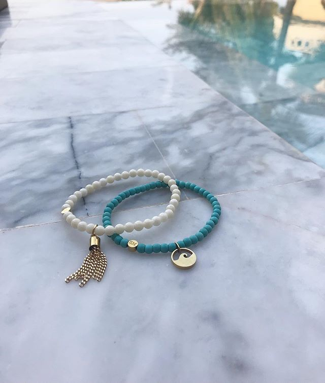 Favorite bead bracelet stack for a tropical getaway : Turquoise Wave and brand new White Coral Gold Tassel 🏝...#meandemforgood #forgood #wave #beadbracelets