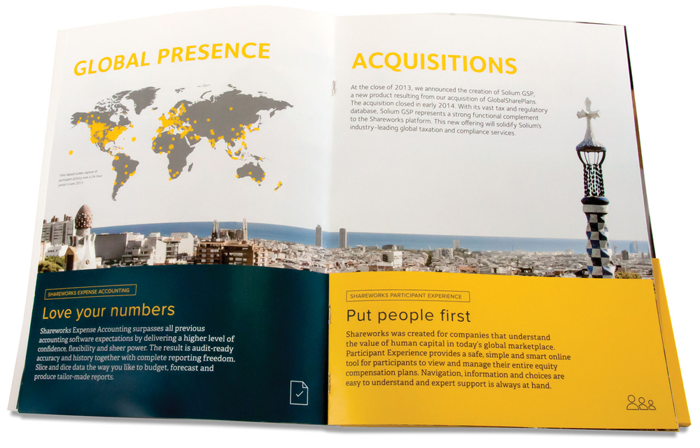 Open spread of printed annual report.