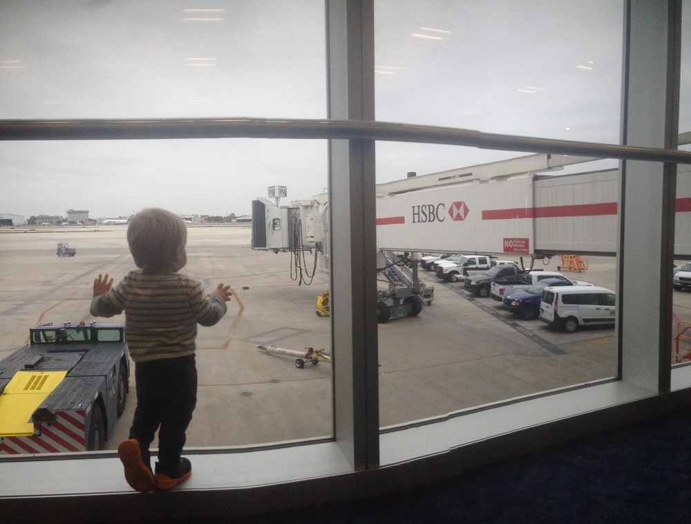 Here's little Ian in awe of the airport.
