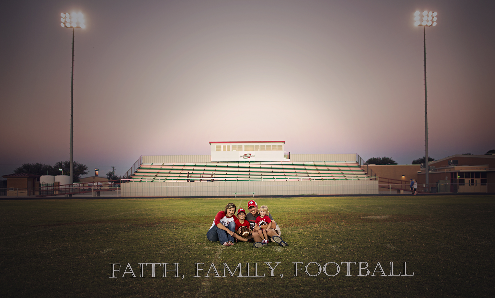 family session in field and football field
