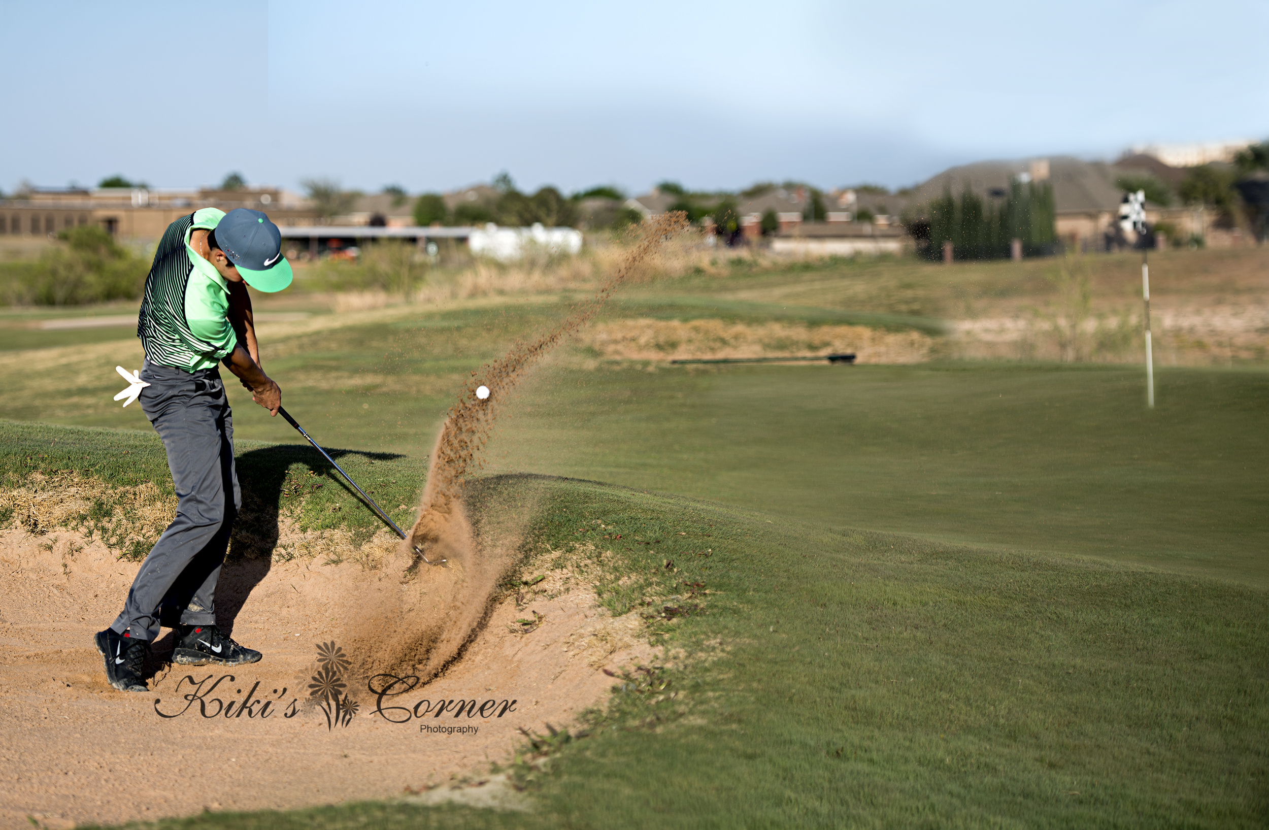 golfing, senior guy golfing, sand trap, awesome sand motion, golf magazine cover