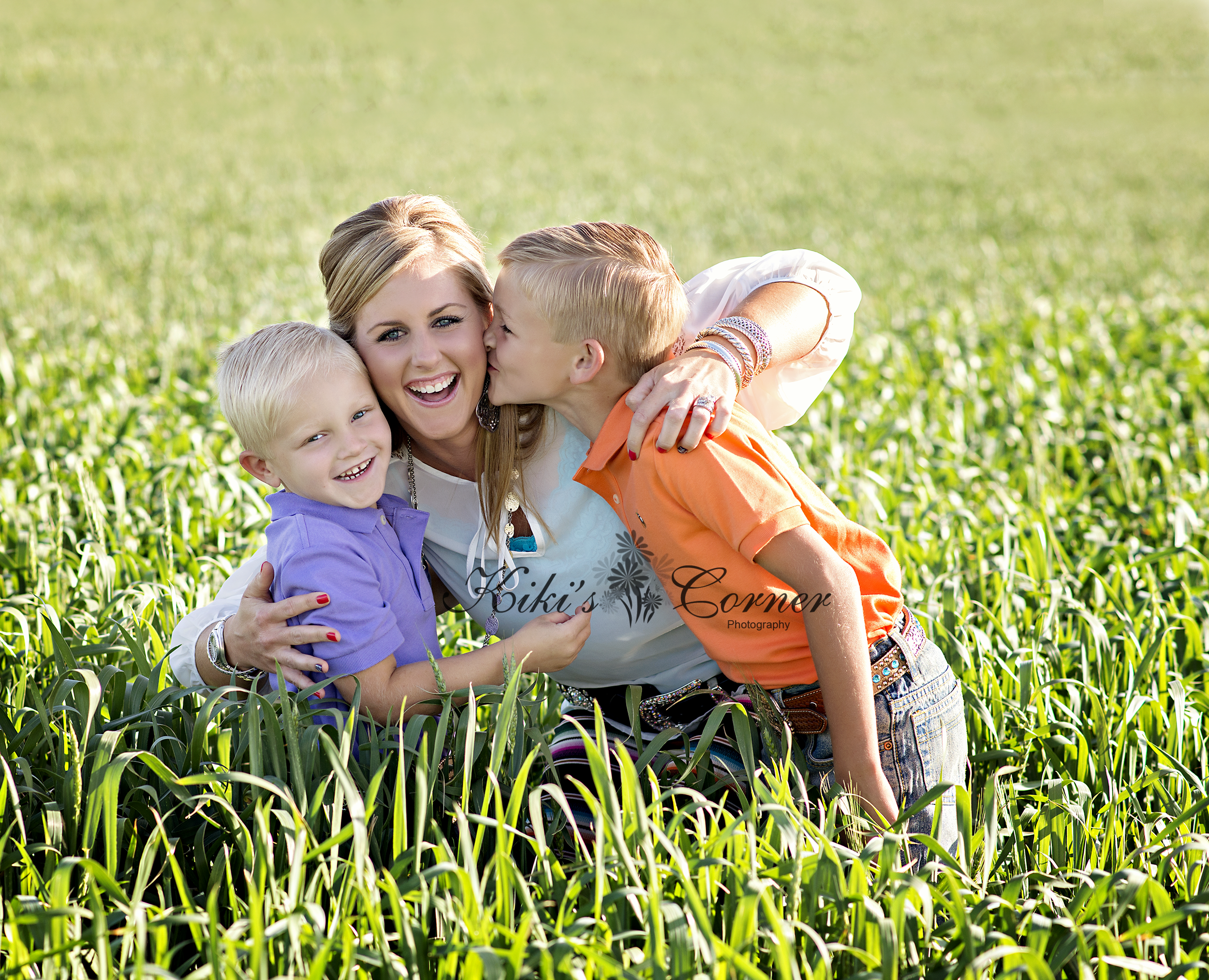 family in wheat field