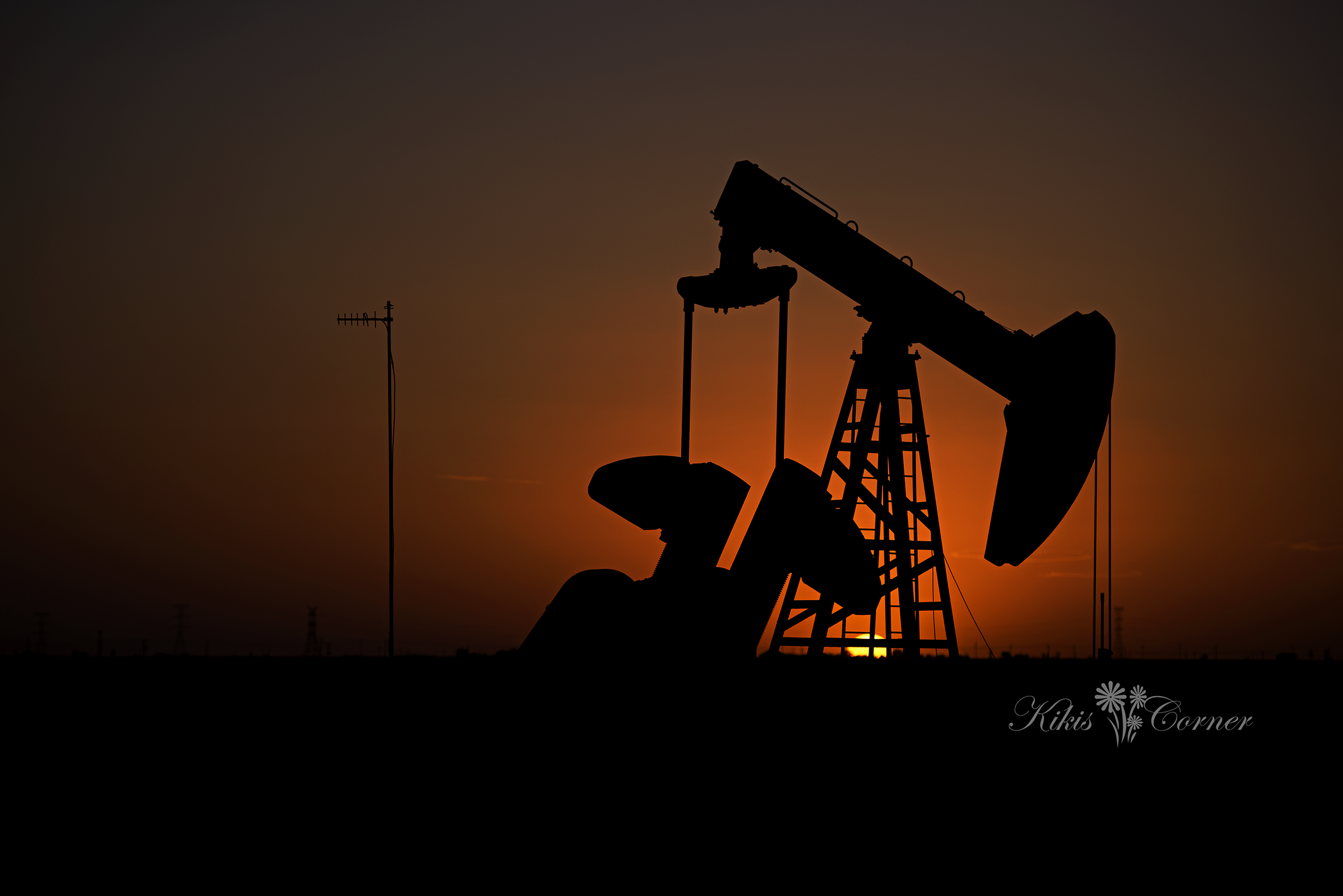 texas sunset, pumpjacks