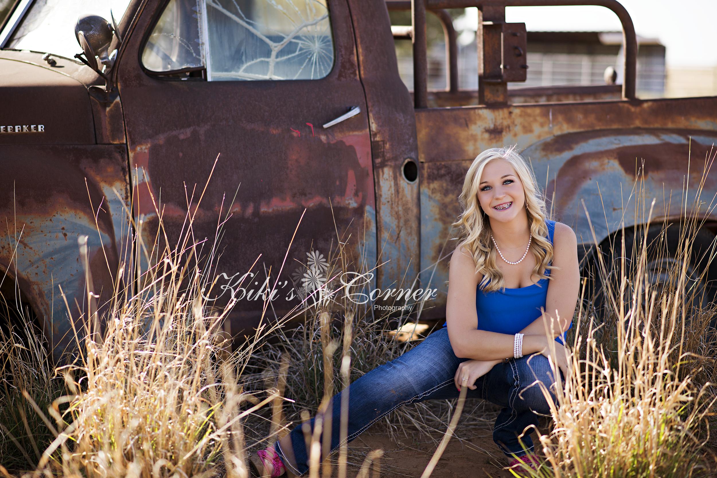 senior girl, old truck