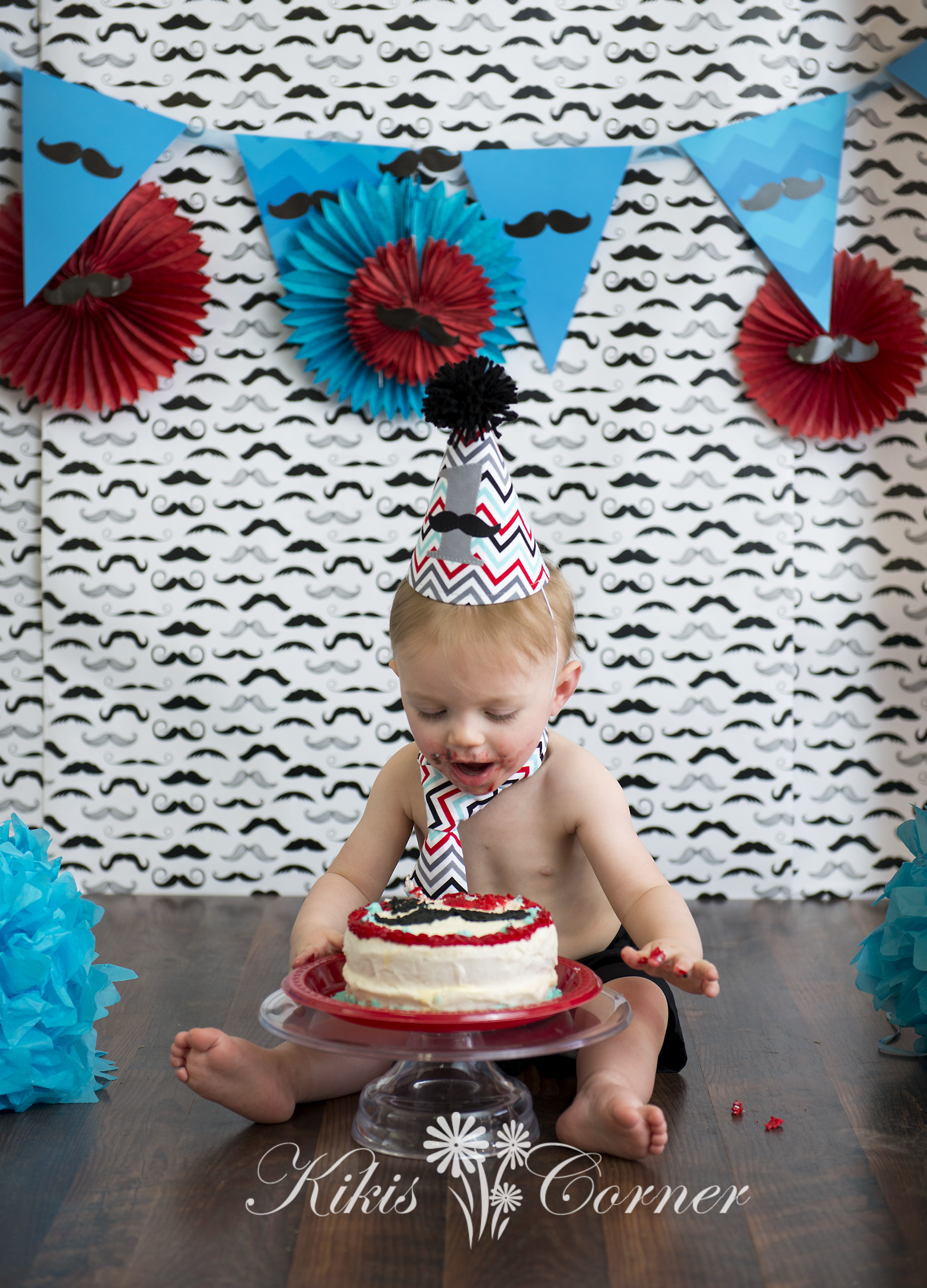 1st birthday mustache cake smash