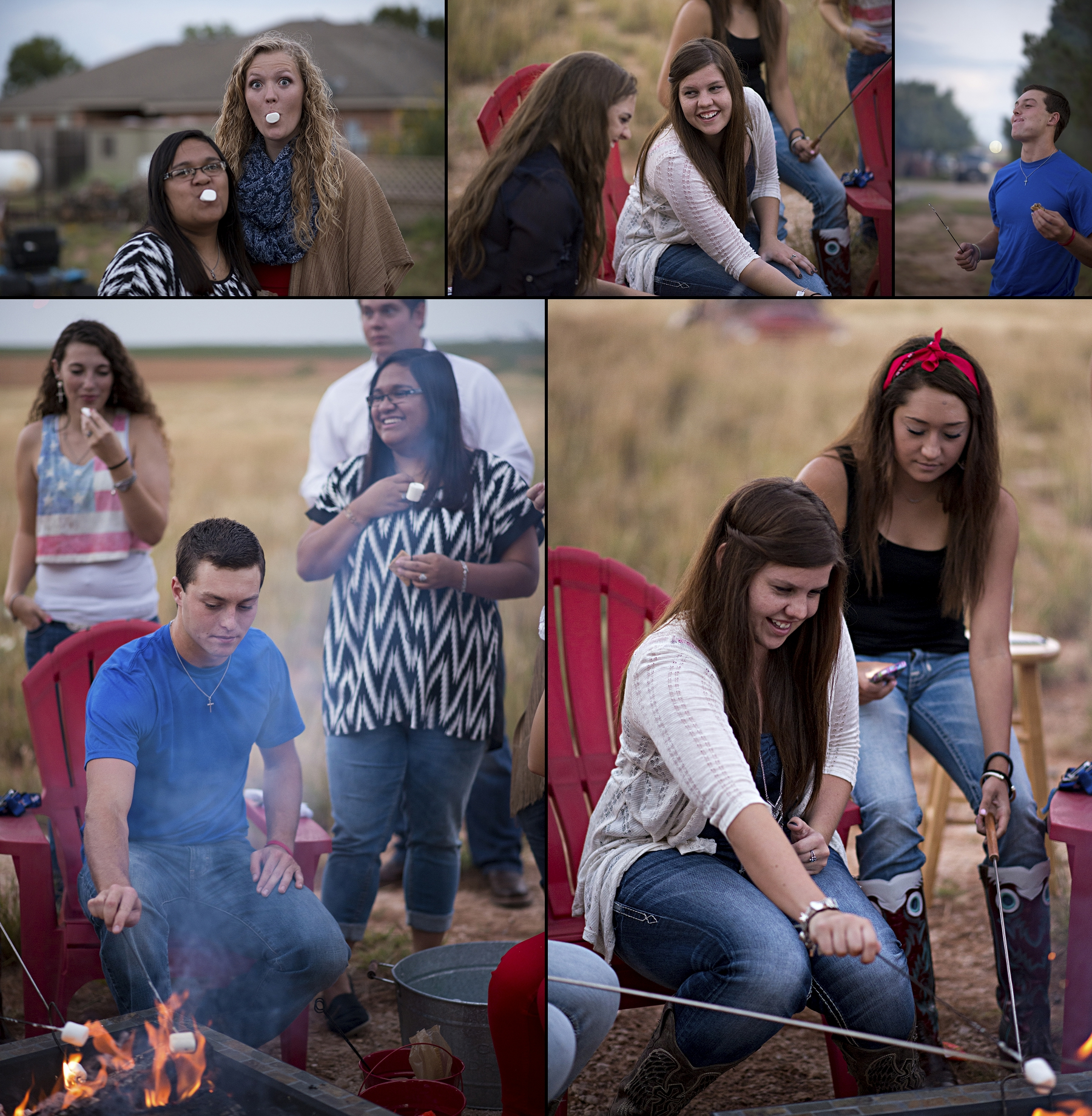 texas, seniors, beauties, Texas flag, Sunset, S'mores, campfire, marshmellows