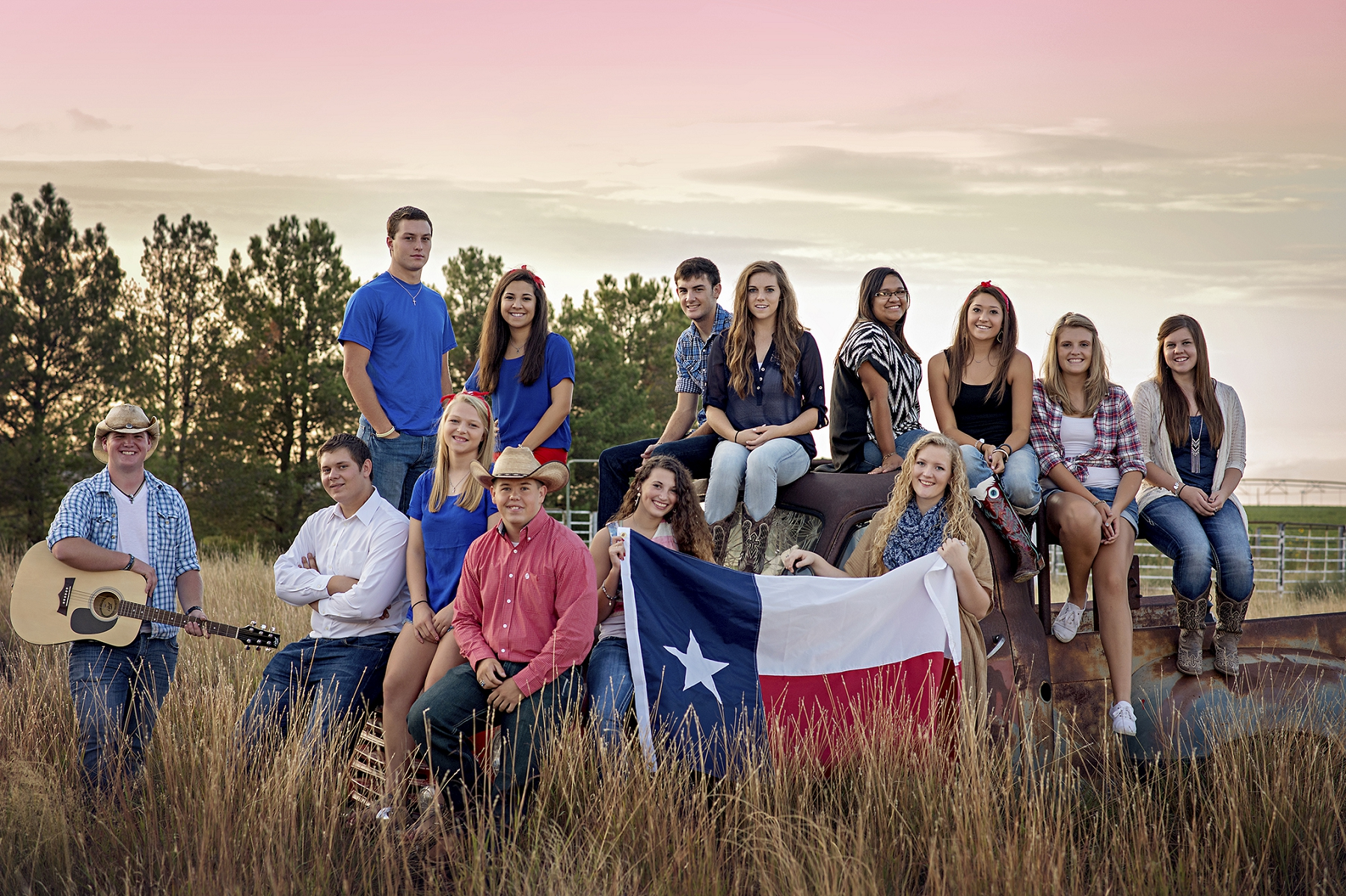 texas, seniors, beauties, Texas flag, Sunset,