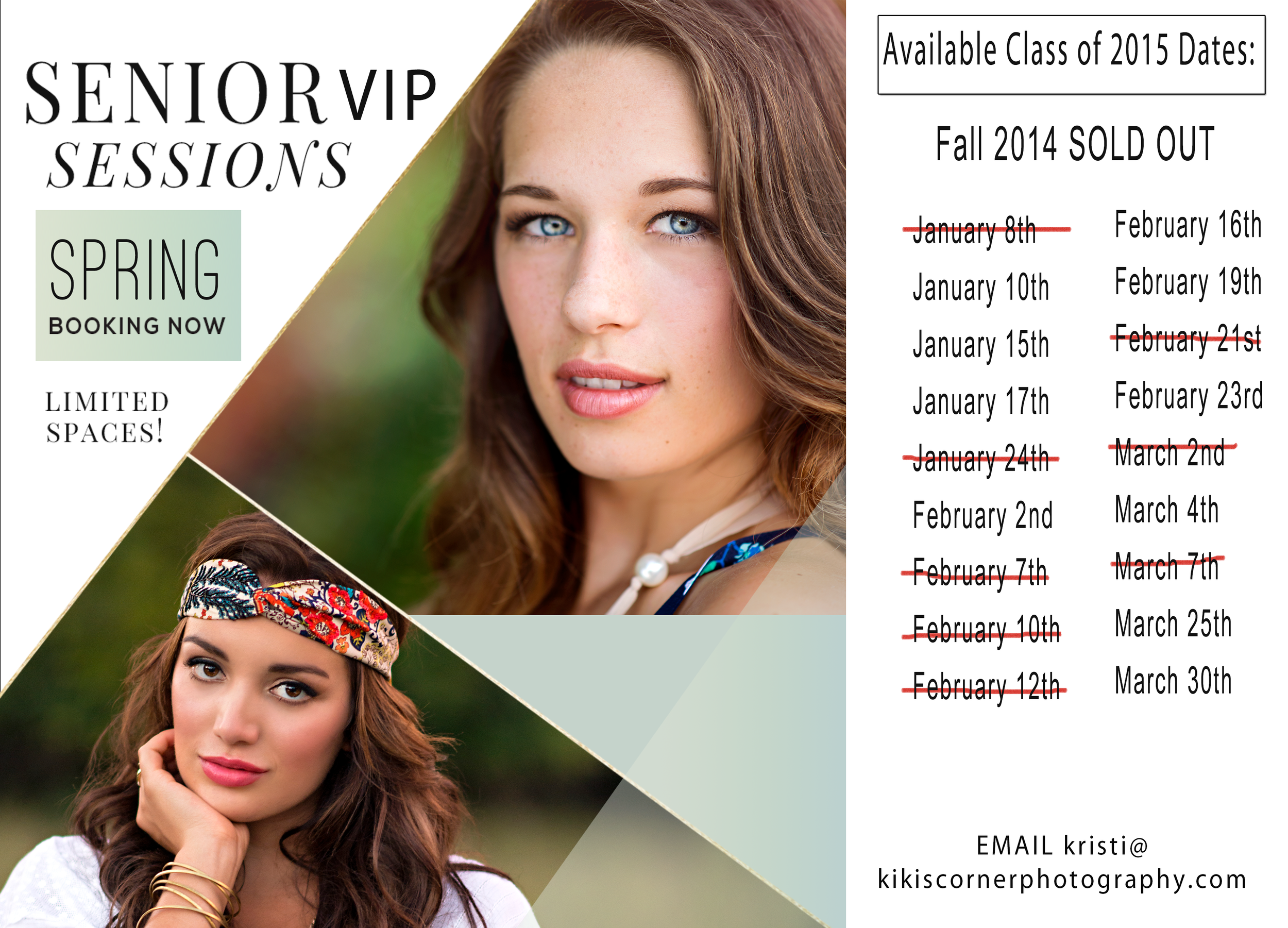 now booking spring senior sessions