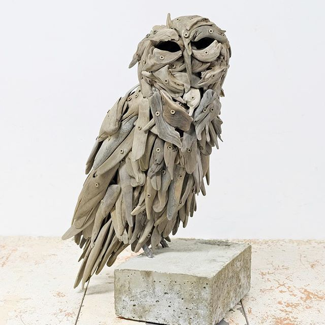 Can't wait to share what I have been creating in the studio! My second solo show @madronagallery opens on June 2nd. #artopening #westcoast #pnw #owl #driftwood