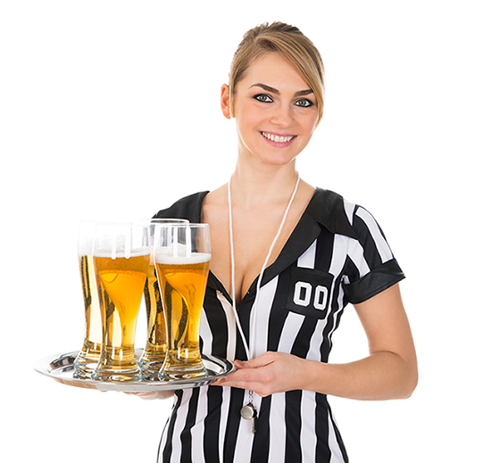 Cute football referee waitress
