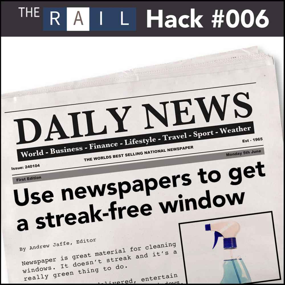 Restaurant Hack - Get streak-free windows by using old newspapers.