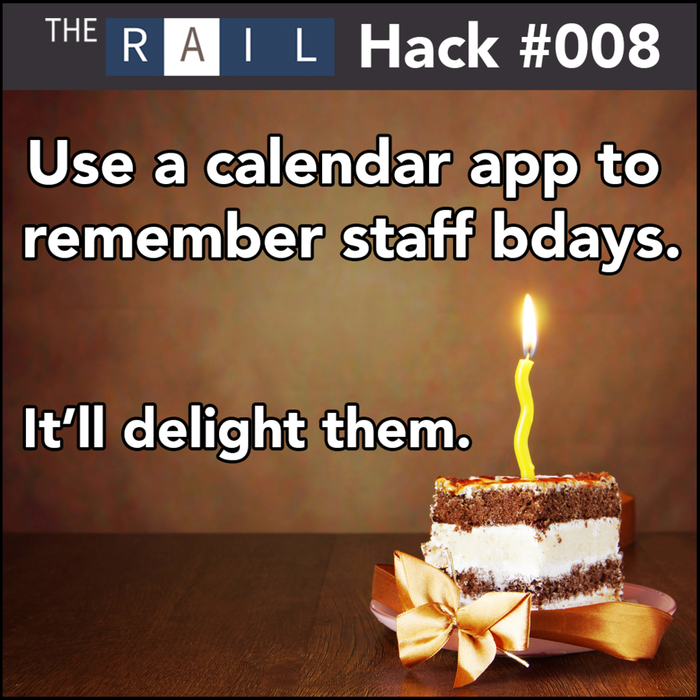 Restaurant Hack #008 - Use calendar apps to remember your staffs' birthdays