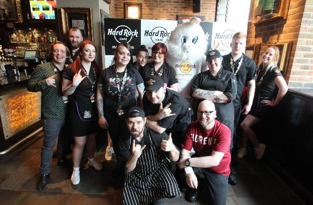 The staff of the Manchester, UK Hard Rock Cafe restaurant