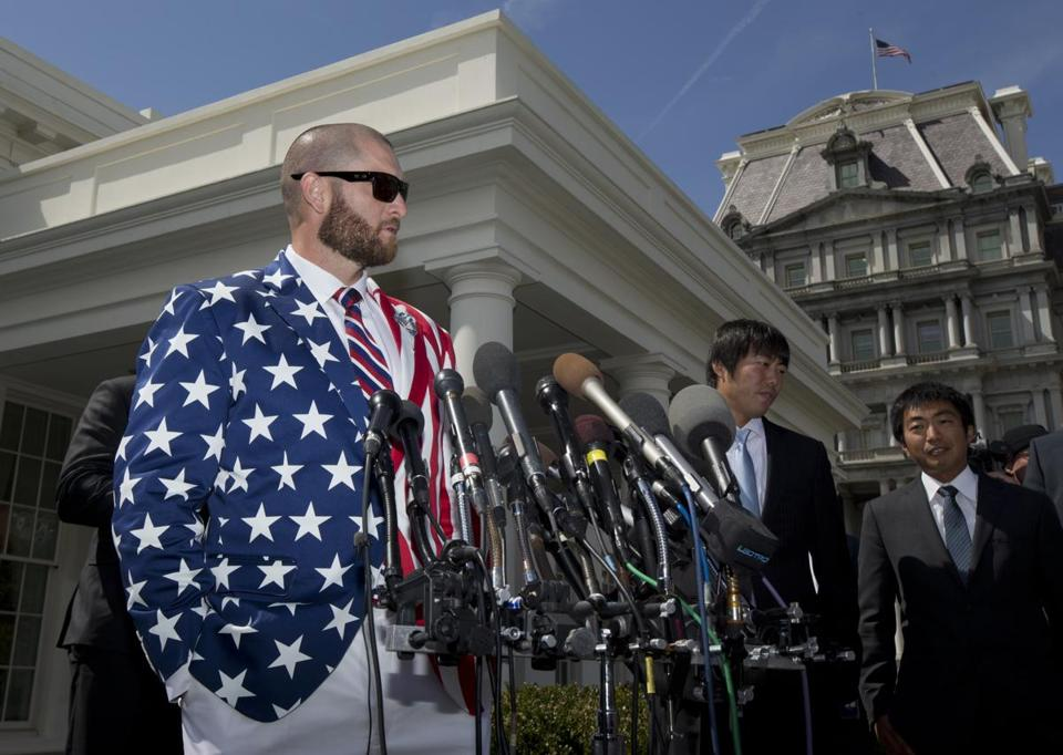 Johnny Gomes wasn't invited to meet the President this time. No repeat of this jacket, alas.