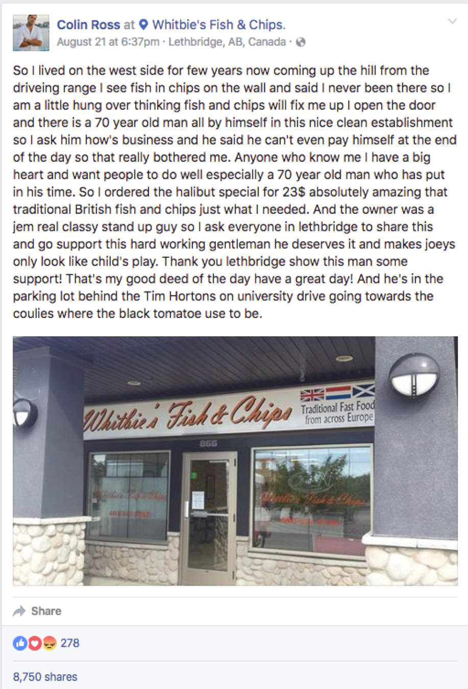 Colin Ross's heartfelt review of a local restaurants went viral on Facebook