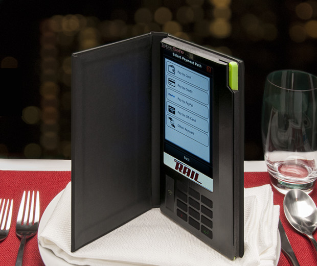 The RAIL by TableSafe is a table-side device for restaurants with mobile payment capabilities