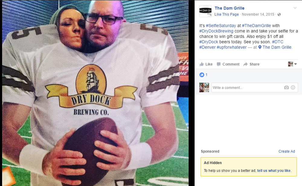 The Dam Grille in Denver knows exactly how to engage guests on social media. They used a cardboard cut-out to tag football fans on Facebook and Instagram during halftime. The winner receives a gift card.