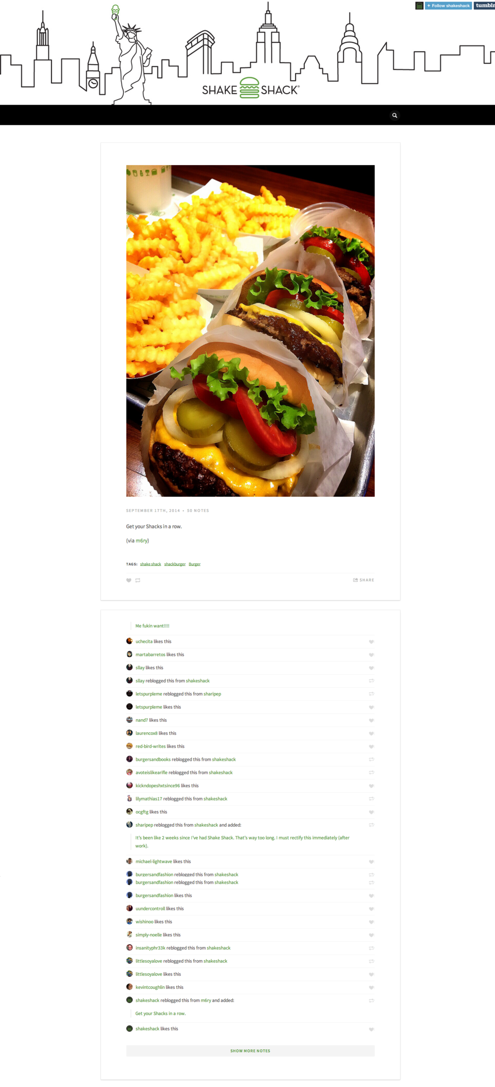 Fun Shake Shack content marketing idea