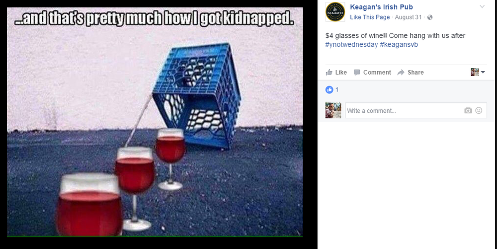 Keagan's Irish Pub in Virginia Beach, VA created this awesome meme promoting their Happy Hour for all of us #WineAddict