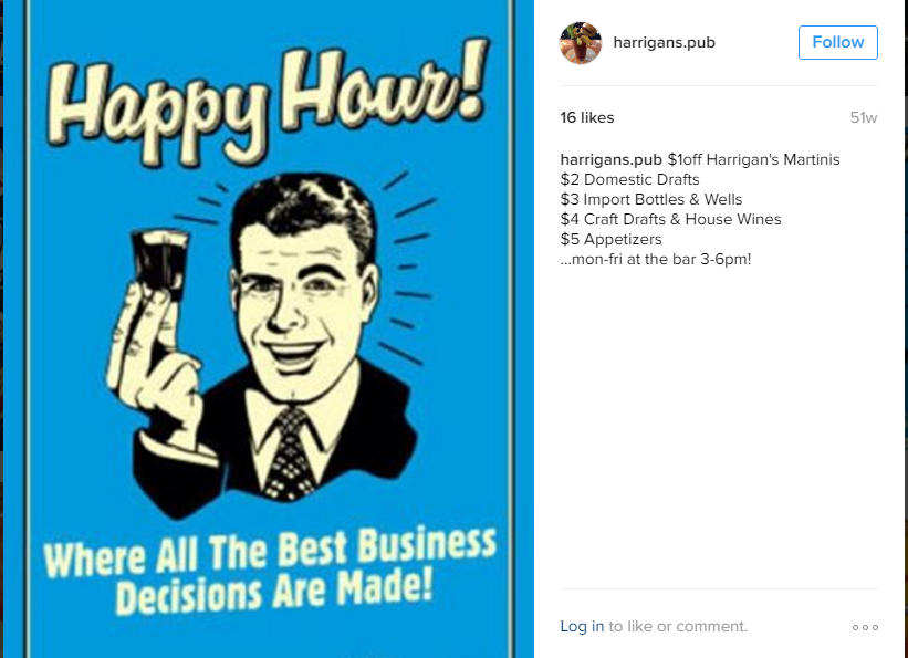 Harrigan's Pub located on the Jersey Shore knows the real reason why #HappyHour is popular.