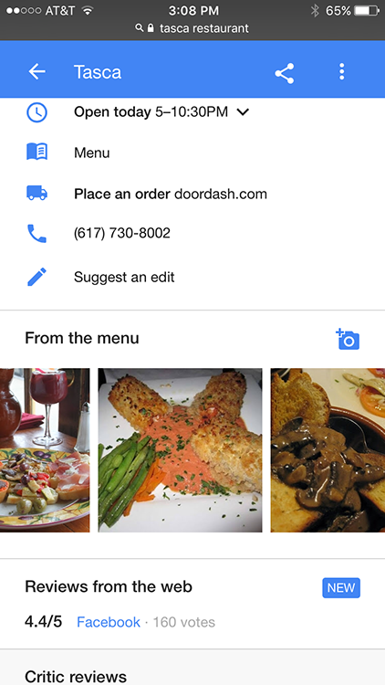 Google's From the Menu feature lets restaurant guests post pics of their meals in local search.