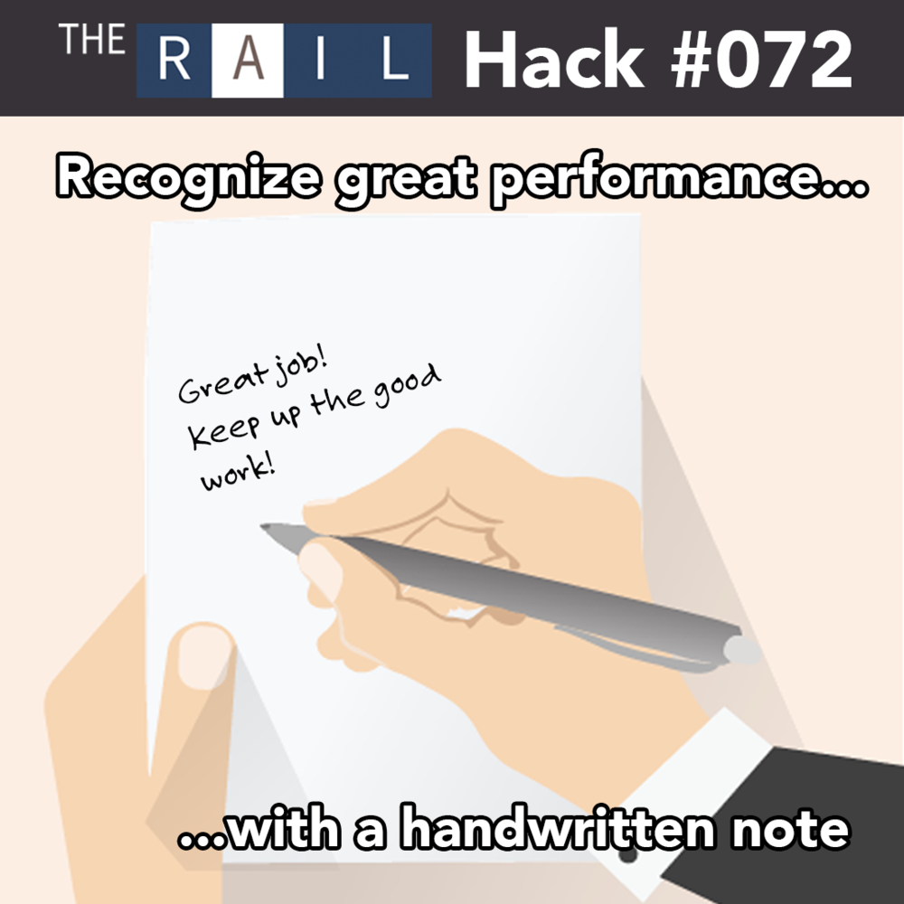 Restaurant tip: Use handwritten notes to recognize great staff performance.