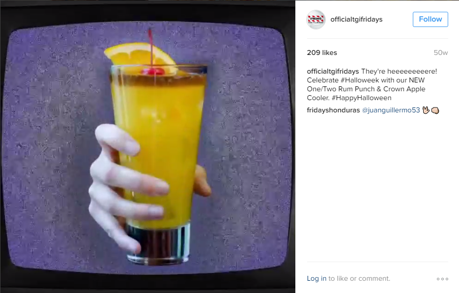 TGIFridays posted this catchy Instagram video promoting their Halloween drink specials. There are quite a few scary movies we can assume they're channeling here.    Check out their vid!