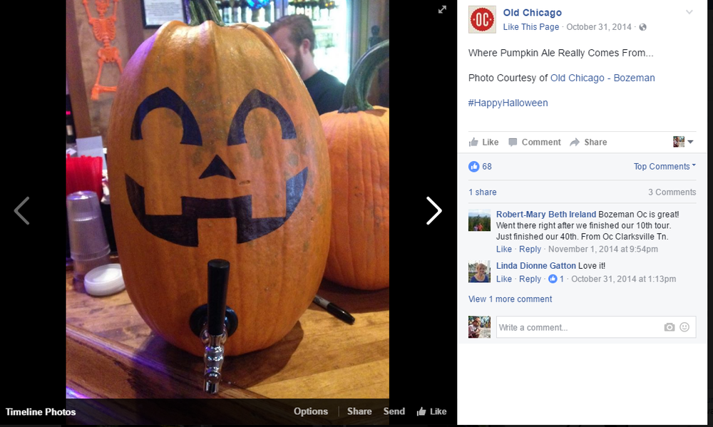 Pumpkin Ale comes from pumpkins, right? Well Old Chicago Pub in Denver, CO thinks so! They posted this photo promoting their Happy Hour as well as their pumpkin flavored beers.