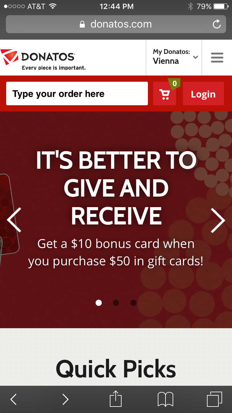 Donatos mobile restaurant website