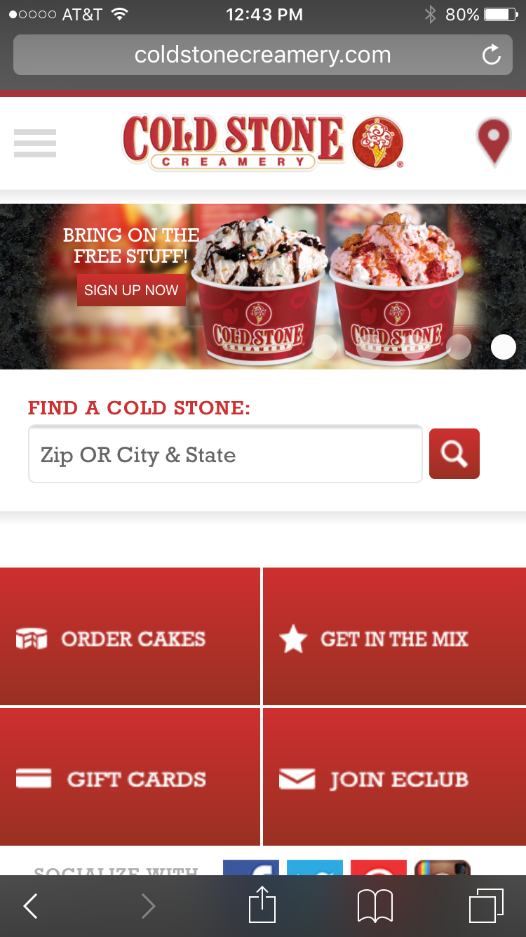 Cold Stone Creamery mobile website