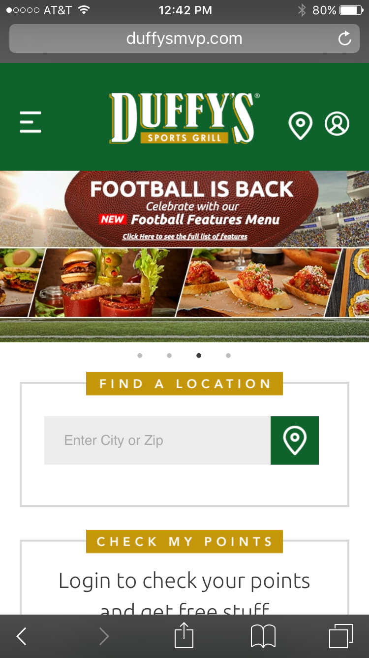 Duffy's MVP sports bar mobile restaurant website
