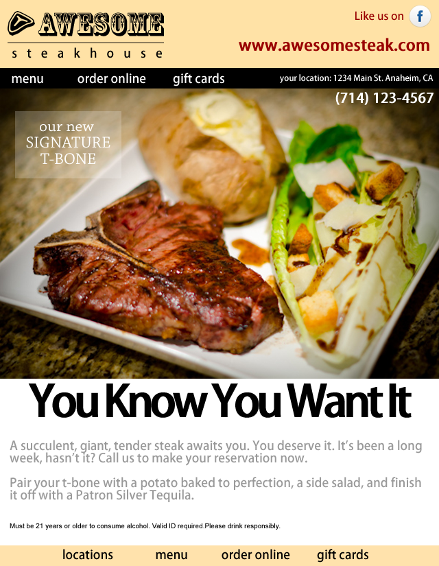 Boring restaurant marketing email newsletter.