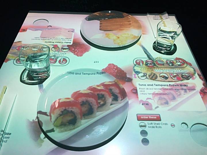 Guests can get previews of what their meals would look like projected onto their plates.