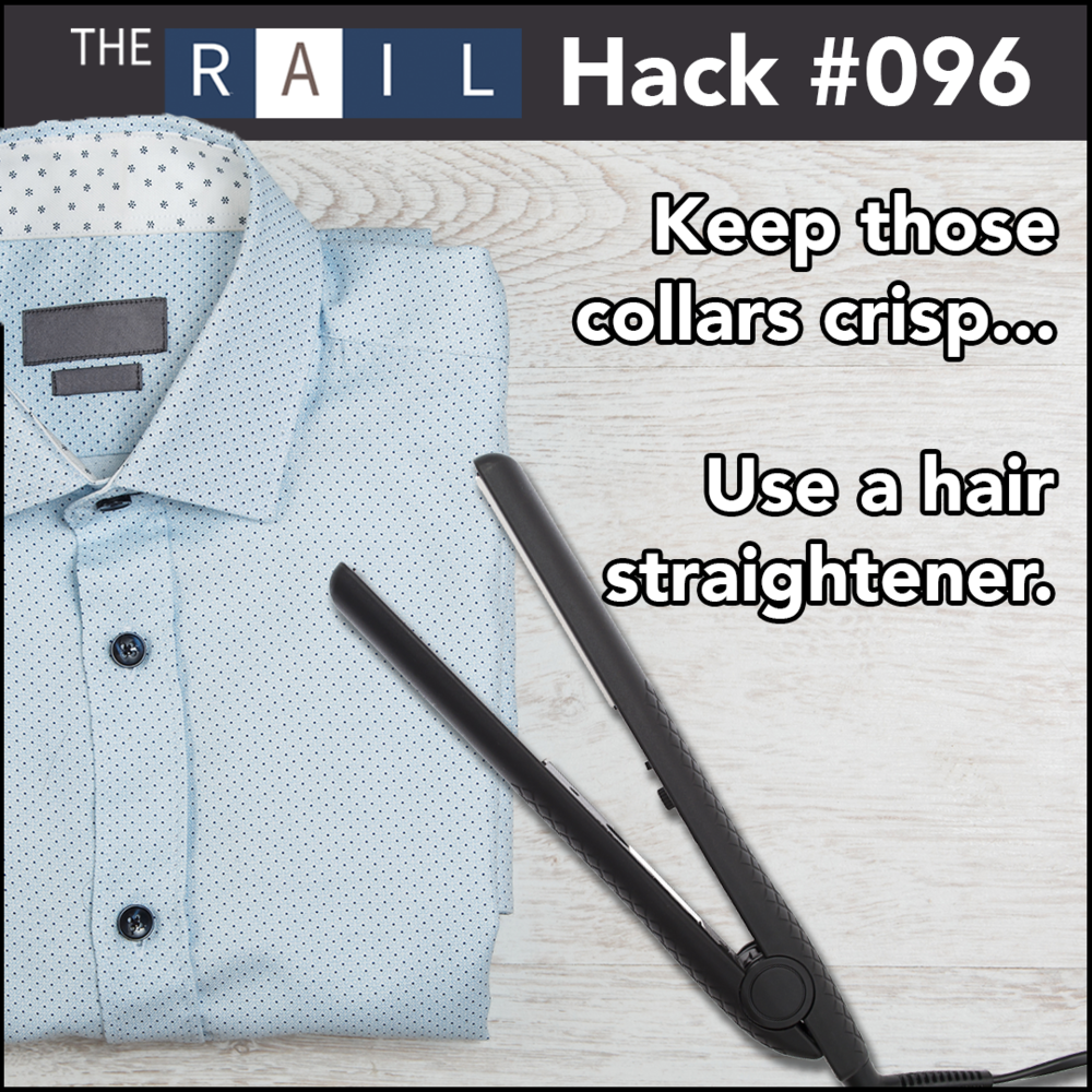Restaurant staff tip: Use hair straighteners to keep work shirt collars crips and spiffy.
