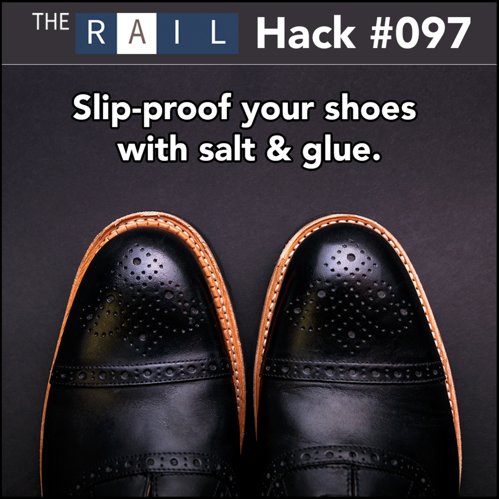 Restaurant & bar staff tip: Use salt & glue to keep slick dress shoes from slipping.