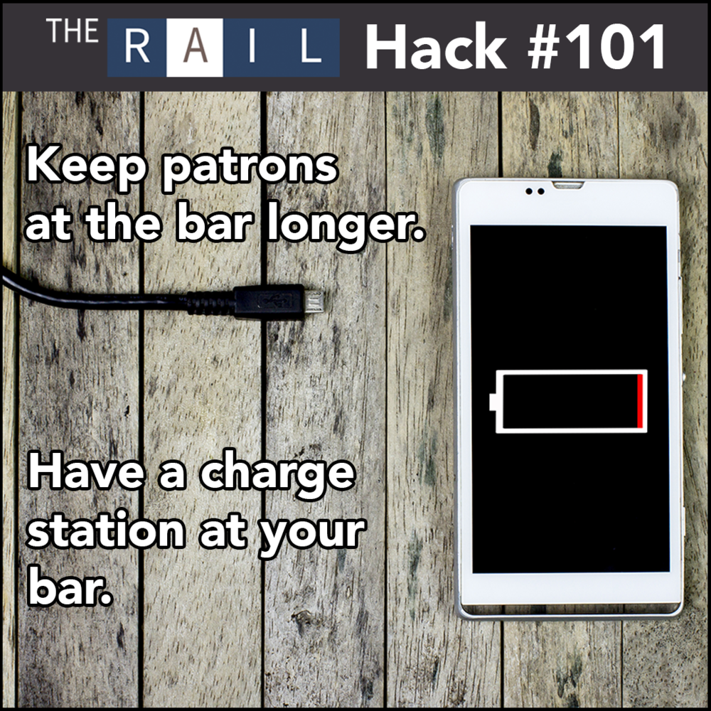 Bar Guest Experience Tip: Have a phone charger at the end of your bar.