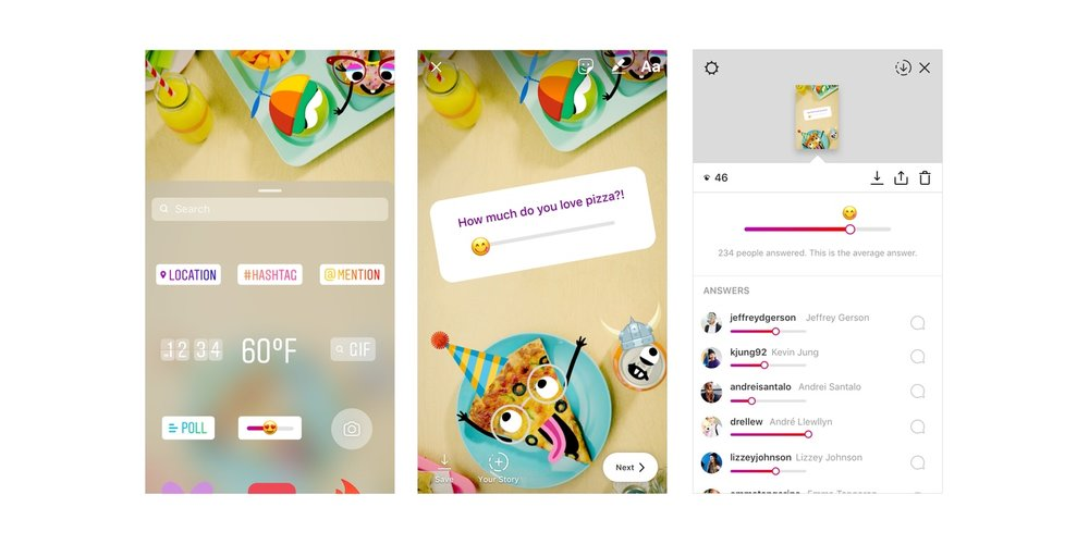 Restaurants looking to interact with followers should use the array of Instagram stickers for Instagram stories.