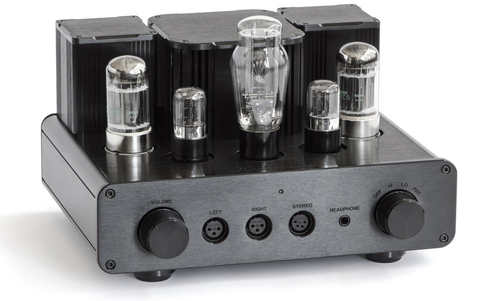 Face panel from left to right: balanced volume control, 3-pin XLR headphone output, 4-pin XLR headphone output, 1/4 (6.3mm) inch headphone output, high/low impedance switch and power switch.