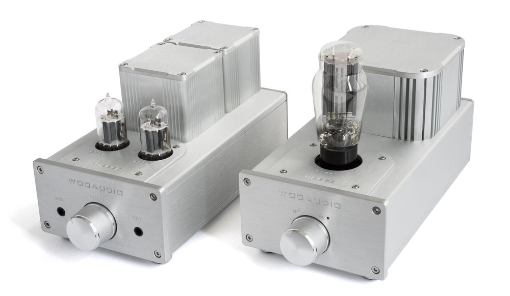 On the AMP unit (front), the 2 extruded aluminum enclosures house a pair of specially hand-wound output transformers.
