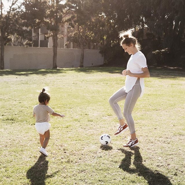 "her idea of playing soccer: running and saying ""i got it, i got it!"", then grabbing the ball and sitting on it 🤷🏼‍♀️ #ad did you know toddlers need 3 hours of physical activity per day? when I read that I was shocked and like 'oh crap, it's hard enough coming up with regular activities.' these @SASSshoemakers shoes allow me to keep up with this crazy active lady all while staying super duper comfortable 👍🏼 use code MORGAN5 for $5 off their website until 2.17.18! thank you for my complimentary shoes @SASShoemakers! #SASSfootwear #stylefeelsgood"