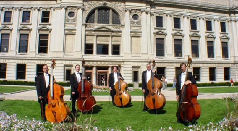 FORT WAYNE PHILHARMONIC BASS SECTION, L to R:  Andres Gil, Brad Kuhns, Brian Kuhns, Kevin Piekarski, Adrian Mann