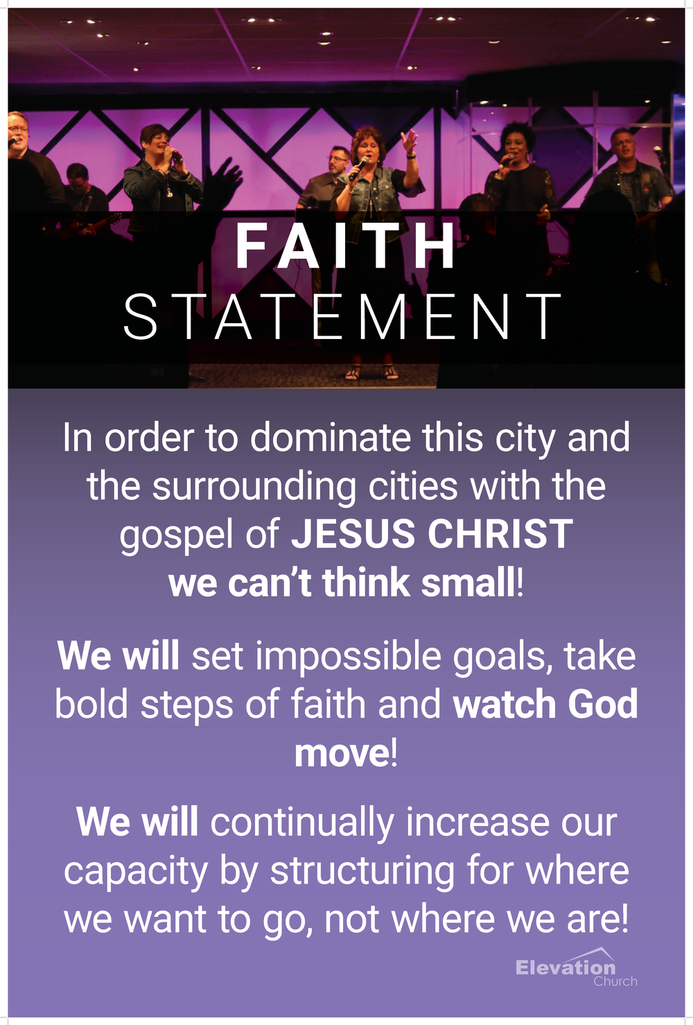 Elevation Church Ministries Statements for Foyer Wall 1