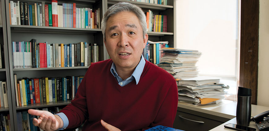 "Hangtae Cho Receives 2016-17 Morse-Alumni Teaching Award - A beloved teacher for 20 years, Dr. Hangtae Cho has grown the U's Korean program from a cohort of 10 to a cohort of 500, and made it the most successful program for nonheritage learners in the United States. Cho pioneered the teaching of nonheritage learners through his work on a textbook series for beginning and intermediate learners. His research and teaching includes South and North Korea. As McKnight Professor Travis Workman says, Dr. Cho has ""put Minnesota on the map nationally as a center for undergraduate education in North Korean topics."" He aims to take ""a more nuanced, less-biased approach to the living culture on the peninsula."" Students find him both wise and approachable."