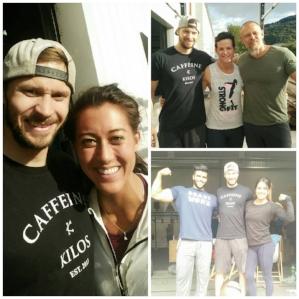 Sarah Loogman, Jackie Perez, Wendy Shafransky és Julien Pineau, Richard Aceves társaságában a StrongFit coaches week 2-n. 2017. szeptember.
